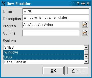 The emulator entry dialog